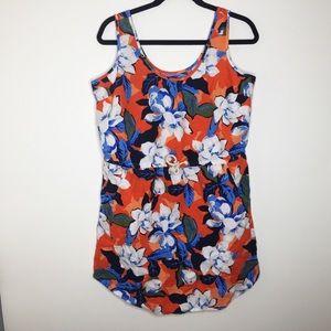 Gap orange floral linen drawstring dress